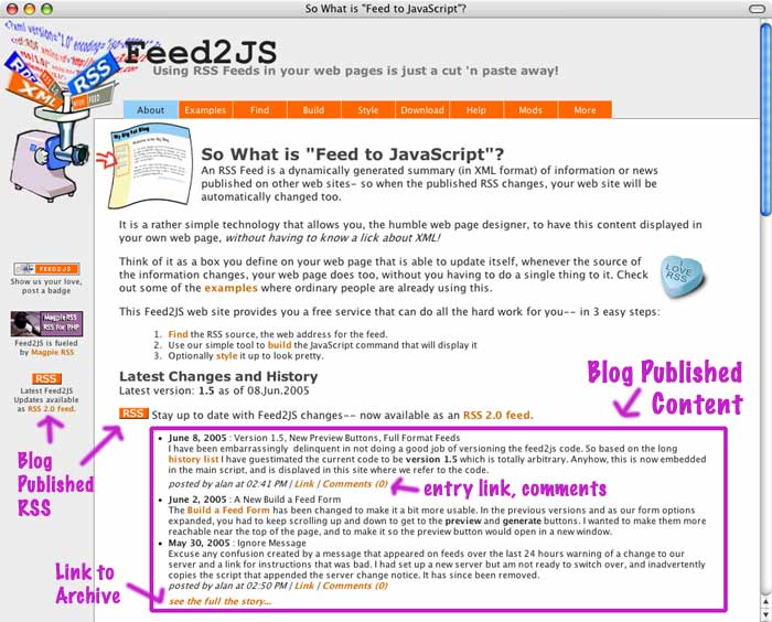 Feed2JS site